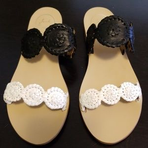 Jack Rogers black and white sandals